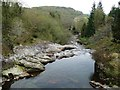 SH6943 : Afon Goedol's calm waters, above a waterfall by Christine Johnstone