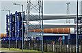 J3777 : Wind turbine blades, Belfast harbour (May 2017) by Albert Bridge