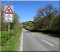 SN8241 : Warning sign - skid risk for 2 miles ahead on the ascent towards Sugar Loaf by Jaggery