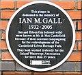 SJ8397 : Ian M Gall (1932-2005) memorial plaque by Gerald England