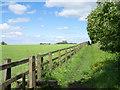 NZ2944 : Wooden fence bounding public footpath by Trevor Littlewood
