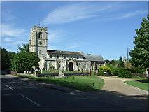 TL3949 : All Saints' Church and War Memorial, Barrington  by JThomas