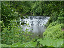 SJ8382 : Weir retaining water for millpond at Quarry Bank Mill by Chris Gunns