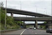 TL1103 : Motorway bridges at M25 junction 21 by David Smith