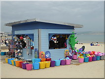 SY6879 : Sales stall on beach, Weymouth by Chris Allen