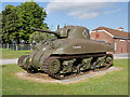SY8288 : Sherman Tank on Guard Duty at Bovington Tank Museum by David Dixon