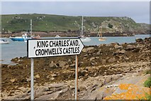SV8815 : Sign for King Charles' and Cromwell's Castles by Oast House Archive