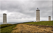 X5698 : The Metal Man pillars, Newtown Head, Tramore (1) by Mike Searle