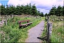 NO2604 : Seat on path to Purin Hill car park, Lomond Hills by Bill Kasman