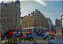 TQ2779 : Knightsbridge: major intersections at entrance to Underground station, 2000 by Ben Brooksbank