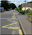 ST6883 : Zigzag yellow markings on Wotton Road, Iron Acton by Jaggery