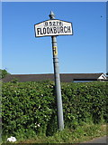 SD3676 : Flookburgh village sign on the B5278 by John S Turner