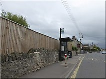 ST6458 : Bus stop and shelter, High Littleton by David Smith