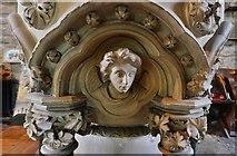 SO7137 : Ledbury, St. Michael and All Angels Church: The 1850 Sir George Gilbert Scott stone  font 2 by Michael Garlick