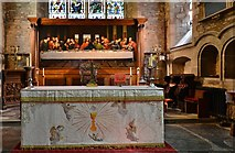SO7137 : Ledbury, St. Michael and All Angels Church: The altar and Last Supper painting by Michael Garlick