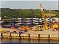 J3677 : Wind Turbine Blades, DONG Energy Terminal at Belfast by David Dixon