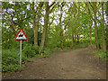 SE2436 : Horse warning in Bramley Fall woods by Stephen Craven