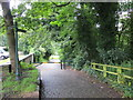 SD8012 : Cobbled Track with barrier and stile through Burrs Country Park by Peter Wood