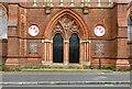 SJ8696 : St Benedict's doors by Gerald England