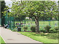 TQ2081 : Artificial turf football pitch, North Acton Playing Field by David Hawgood