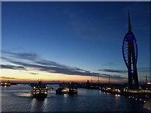 SZ6299 : Portsmouth Harbour at dusk by Paul Coueslant