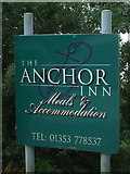TL4279 : Sign for the Anchor Inn, Sutton Gault by JThomas