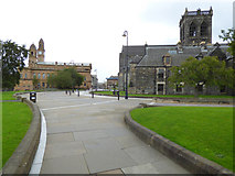 NS4863 : Paisley Abbey and Paisley Town Hall by Thomas Nugent