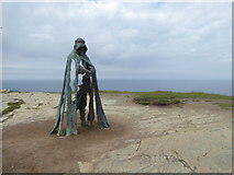 SX0489 : Bronze sculpture on Tintagel Head by Rod Allday
