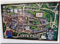 SP0202 : Cirencester map in the Corinium Hotel, Cirencester by Jaggery