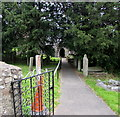 SO2314 : Entrance path to St Elli's Church, Llanelly, Monmouthshire by Jaggery