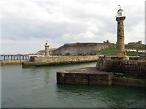 NZ8911 : Lighthouses on the piers in Whitby by Steve Daniels