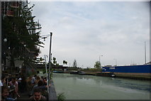 TQ3784 : View along the River Lea from the rear of Stour Space by Robert Lamb
