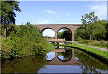 SO8275 : Bridge and viaduct across the canal near Kidderminster by Roger  Kidd