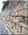 SP2865 : Erosion of a Warwick Sandstone wall, Northgate, Warwick by Robin Stott