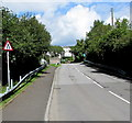 ST0582 : Warning sign - road narrows, Cardiff Road, Llantrisant by Jaggery