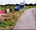 SM9107 : Notices on the approach to Myrtle Meadows, Steynton, Milford Haven by Jaggery