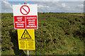 SR9693 : Warning sign - Castlemartin Range by Stephen McKay
