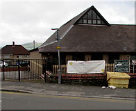 ST3090 : Church banner outside Malpas Community Centre,  Newport by Jaggery
