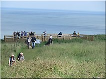 TA2073 : Bird watchers on Bempton Cliffs by Graham Robson