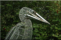 SK8707 : View of a metal sculpture of a heron in Rutland Water Nature Reserve by Robert Lamb