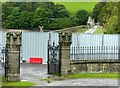 SE1368 : Gouthwaite Dam and Gouthwaite Lodge gates by Alan Murray-Rust