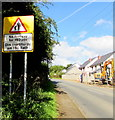 ST0880 : Warning sign - No footway for 150 yds, Cardiff Road, Creigiau by Jaggery