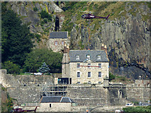 NS4074 : Helicopters at Dumbarton Castle by Thomas Nugent