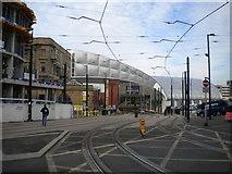 SJ8498 : Metrolink approaching Victoria station, Manchester by Richard Vince