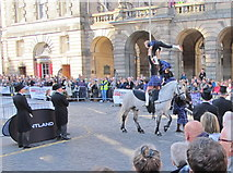NT2573 : Girl gymnasts on horses, Edinburgh Riding of the Marches by David Hawgood