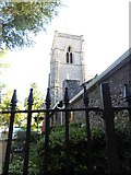 TL8783 : St Cuthbert, Thetford:tower seen through the railings by Basher Eyre