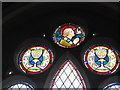 TL8195 : St Peter, Ickburgh: stained glass detail (v) by Basher Eyre