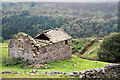 NY9000 : Ruined barn with gorge of River Swale beyond by Trevor Littlewood