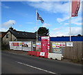 ST1082 : Redrow building site notices and flags, Pentyrch by Jaggery