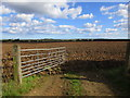 TA1553 : Gate and ploughed field by Jonathan Thacker